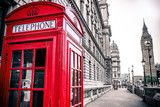 Fototapeta Londyn - Vintage photo of red telephone box and Big Ben