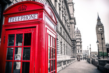 Vintage Photo Of Red Telephone Box And Big Ben