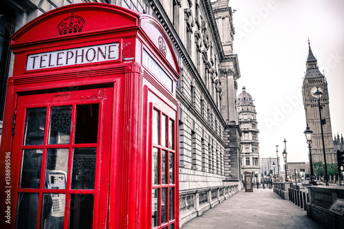 Vintage photo of red telephone box and Big Ben Poster