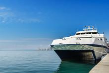 Catamaran Boat At The Harbour In Split,Croatia