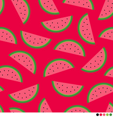 Sliced watermelon seamless vector pattern