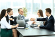 business partners to discuss cooperation plan for the workplace