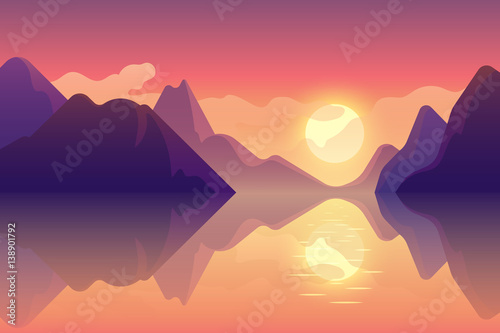 фотография Abstract image of a sunset, the dawn sun over the mountains