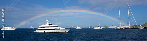 rainbow of the yachts in St Barth