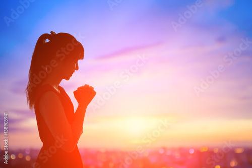 Stampa su Tela woman pray pious