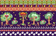 Beautiful Seamless Striped Pattern With Cute Cartoon Fruit Trees, Rose Bushes, Birds, Cheerful Monkeys And Bright Floral Ornament. Illustration For Children.