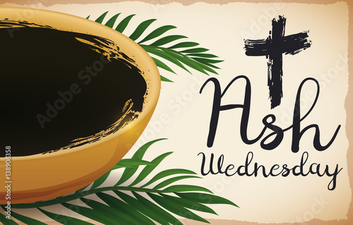 Bowl and Some Palm Leaves for Ash Wednesday, Vector Illustration Wallpaper Mural