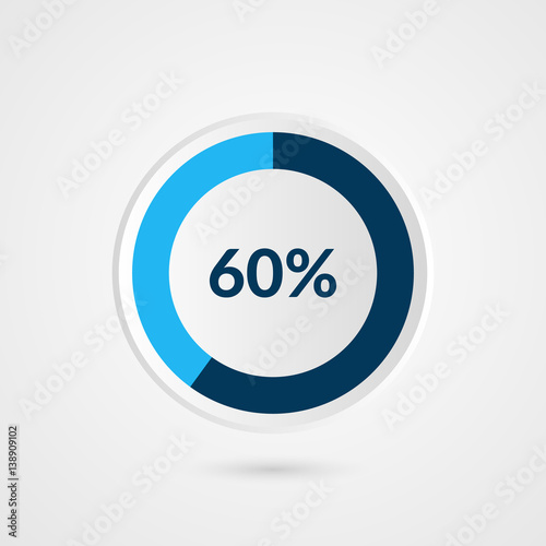 Fotografia  60 percent blue grey and white pie chart