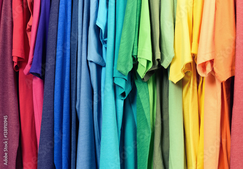 Colourful clothes hanging abstract texture background Fototapeta