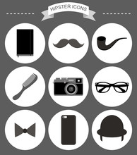Vector Hipster Icons Set With ...