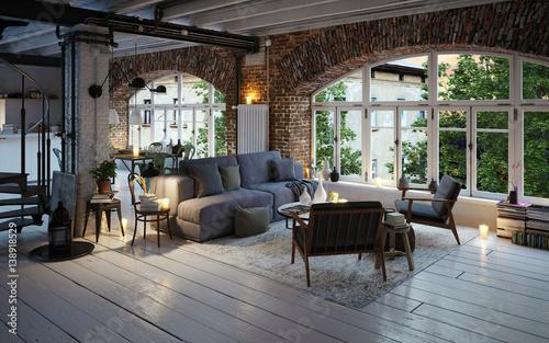 loft apartment bei sonnenuntergang - modern industrial loft sunset ...