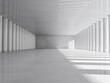 Abstract modern architecture background, empty white open space interior with columns. 3D rendering