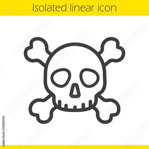 Skull with crossbones linear icon Poster