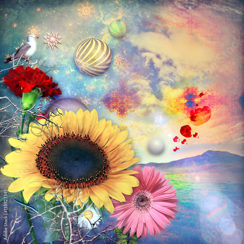 Aluminium Prints Imagination Enchanted and fairytales countryside with colorful flowers