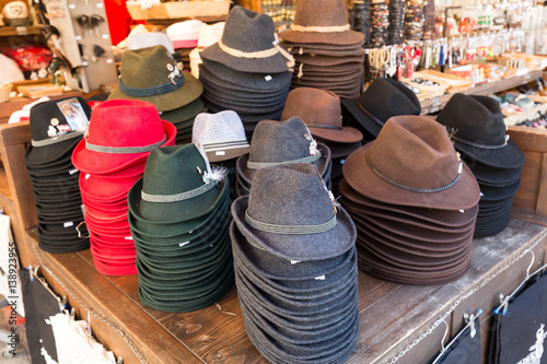 3ae33fb1 Traditional austrian hats for sale in a outdoor souvenir shop in the center  of Salzburg.