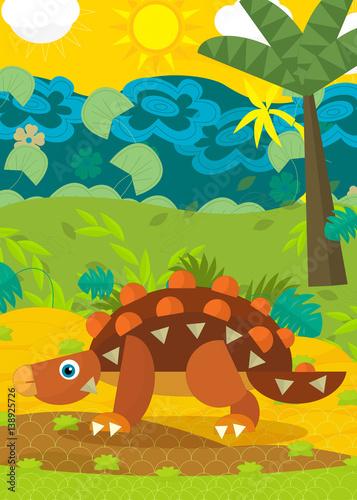 Aluminium Prints River, lake cartoon dinosaur illustration for children