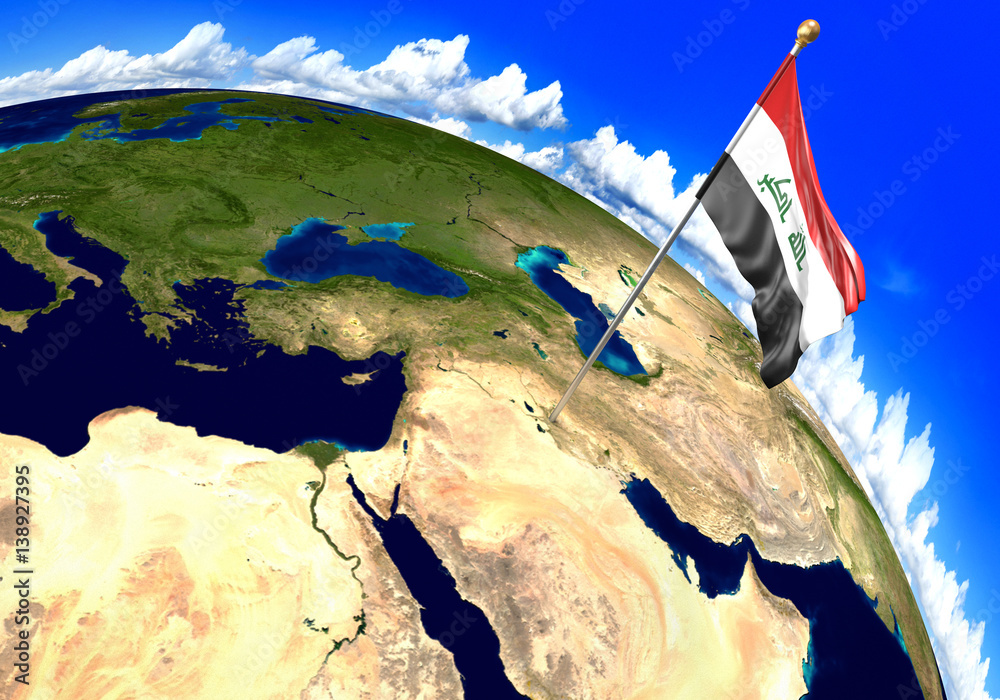 Iraq national flag marking the country location on world map Foto ...