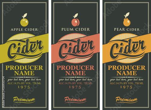 Set of three labels for a cider Fototapete