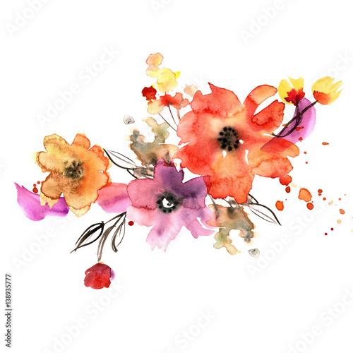 Ładny akwarela ręcznie malowane kwiaty. Zaproszenie. Kartka ślubna. Kartka urodzinowa.