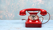 canvas print picture - rotes Telefon