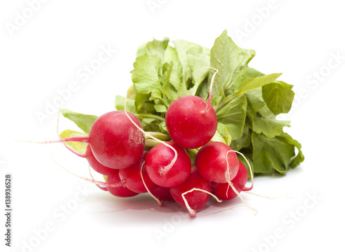 bunch of radish isolated on white