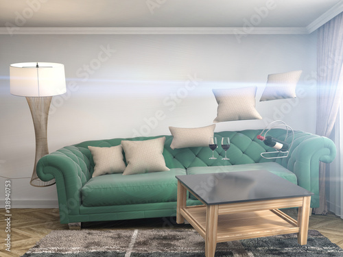 Fototapety, obrazy: Zero Gravity Sofa hovering in living room. 3D Illustration
