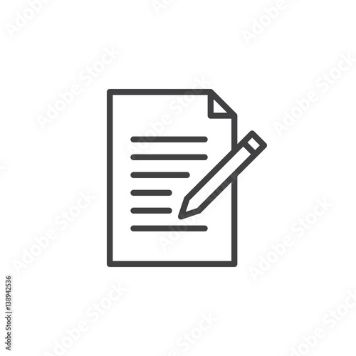 Fototapety, obrazy: Contact form line icon. Write, edit outline vector sign, linear style pictogram isolated on white. Symbol, logo illustration. Editable stroke. Pixel perfect