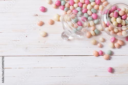Keuken foto achterwand Snoepjes candies on a wooden background