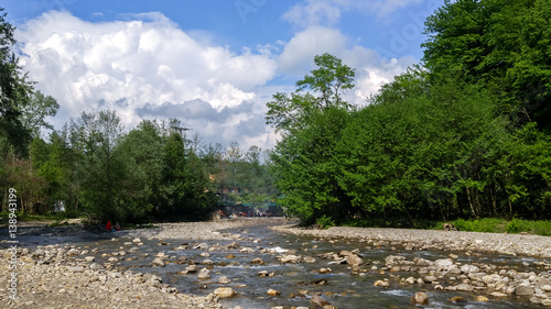 View of a shallow river. Canvas Print