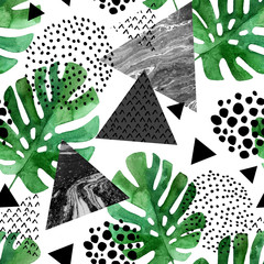 Fototapetawatercolor tropical leaves and textured triangles background