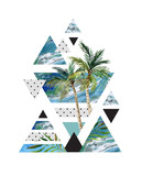 Abstract summer geometric poster design. - 138947980