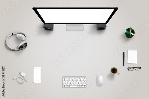 Desk With Technology Devices With Free Space For Text Top View Of
