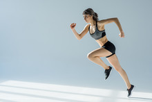 Side View Of Running Woman In ...