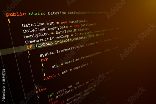 Fotografie, Obraz  Computer language source code on computer monitor.