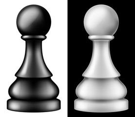 Chess piece Pawn, two versions - white and black. Vector illustration.