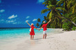 happy loving couple enjoy beach vacation