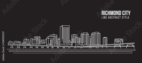 Cityscape Building Line art Vector Illustration design - Richmond city Fototapet