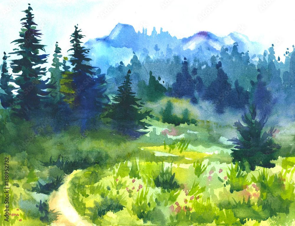 Sunny summer forest.Picture stworzony z akwarelami. <span>plik: #138952732 | autor: any_li</span>
