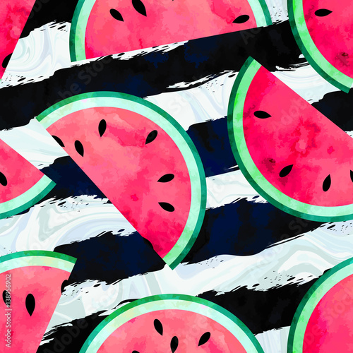Cotton fabric Fruity seamless vector pattern with watercolor paint textured watermelon pieces. Striped and marble background.