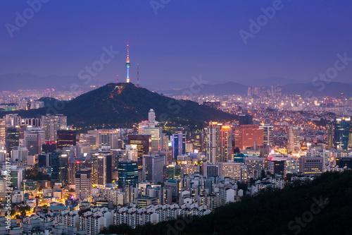 Foto op Canvas Seoel Seoul City Skyline and N Seoul Tower, South Korea.