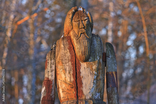 Photo  Norse God Odin is made of wood