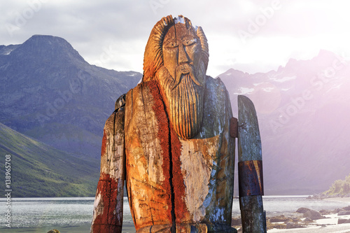 Norse God Odin isolated on the shore of fjord Wallpaper Mural