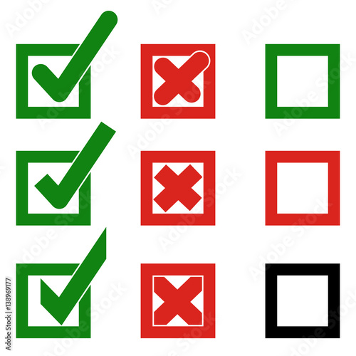 Set Vector Check Marks Or Ticks In Boxes Of Confirmation Acceptance