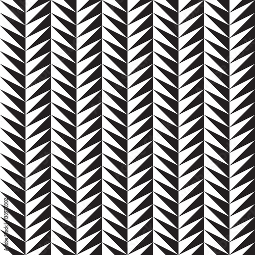 Fotografie, Obraz  Black and white serrated ornament. Seamless vector pattern