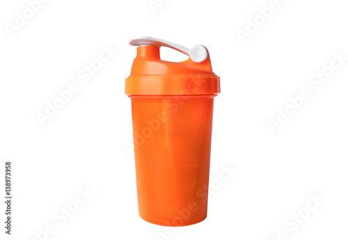 Fotografia  Bright orange modern shaker for sports nutrition isolated