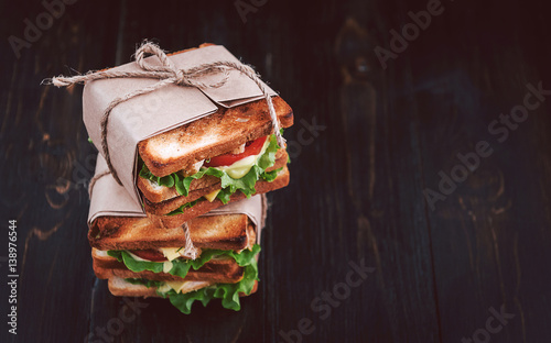 Photo sur Aluminium Snack delicious homemade sandwich in rustic style