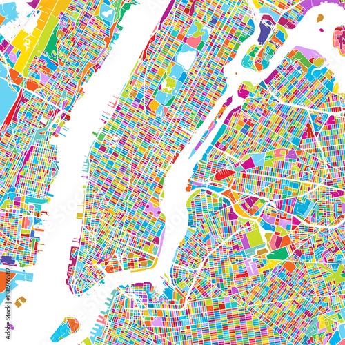 Zdjęcie XXL New York City Manhattan Kolorowe Mapa
