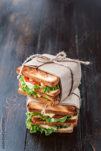 Staande foto Snack delicious homemade sandwich in rustic style