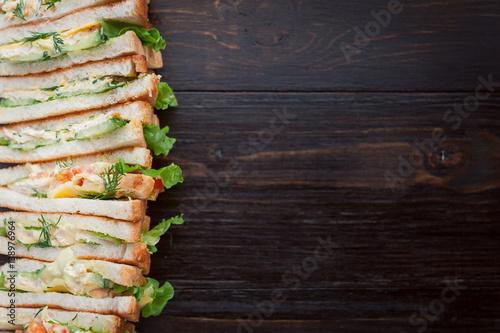 Fotobehang Vissen delicious homemade sandwich in rustic style
