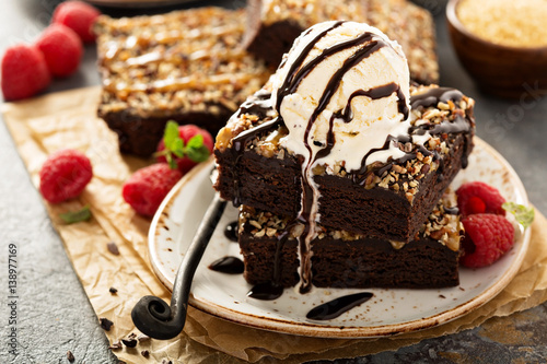 Fudgy brownies with nuts and caramel Canvas Print